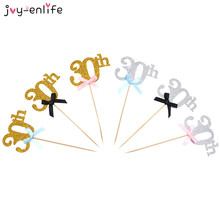 JOY-ENLIFE 1pcs Gold 20th/30th/40th/50th/60th Years Birthday Cake Toppers Party Decor Hen Party Anniversary Cupcake Supplies