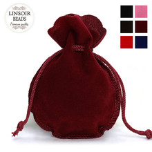 10pcs/lot Fashion 7*9cm Velvet Bag Drawstring Pouch Black/Red Calabash Jewelry Packing Bags Wedding/Christmas Gift Bag F3991(China)