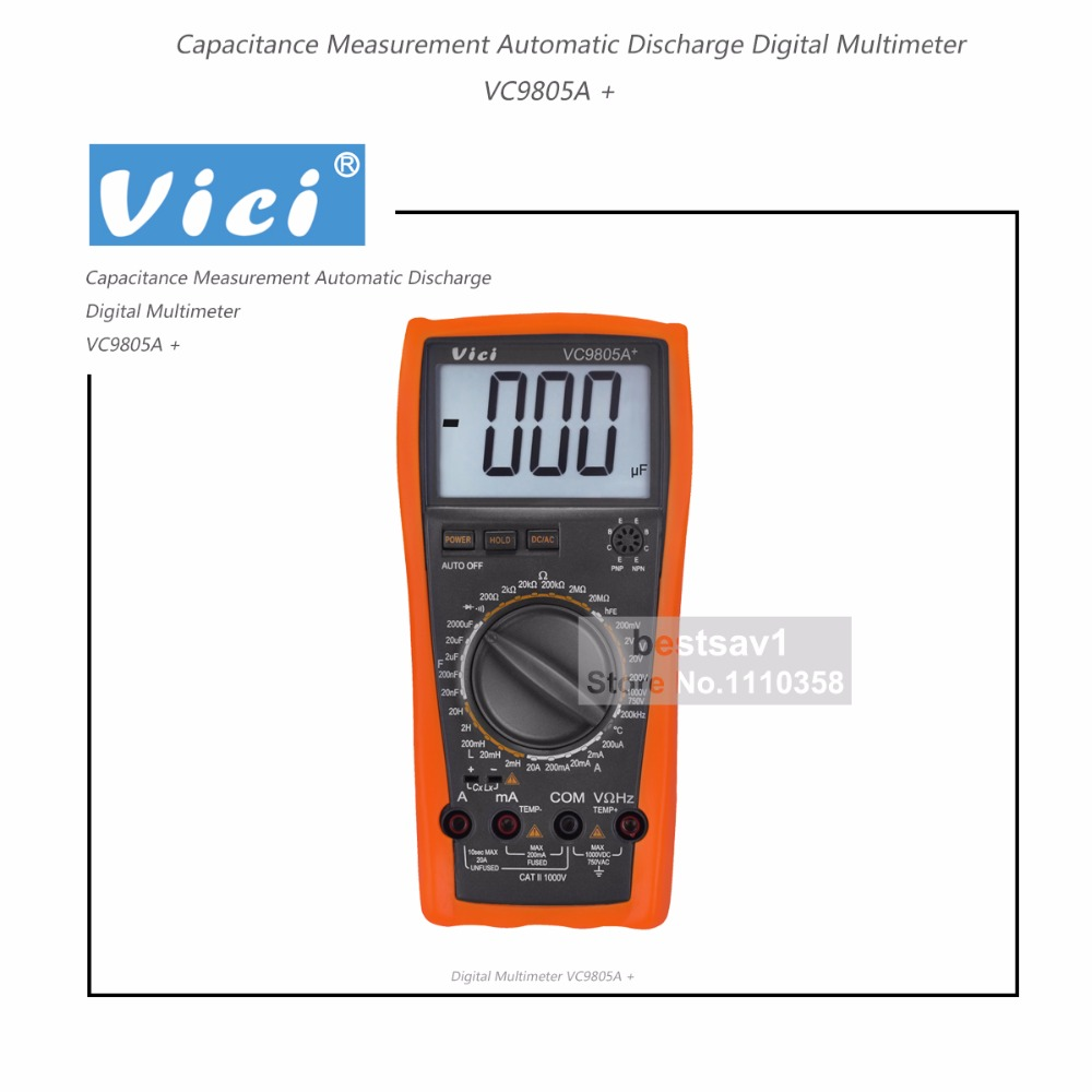 New Victor VC9805A Digital Multimeter 3 1//2  with carrying bag