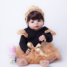 55cm Full Body Silicone Reborn Baby Doll Toys Lifelike Baby-Reborn Princess Doll Child Birthday Christmas Gift Girls Brinquedos(China)