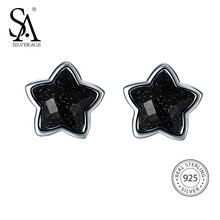 SA SILVERAGE 925 Silver Star Stud Earrings for Women Fine Jewelry Black Vintage 925 Sterling Silver Earrings Female(China)