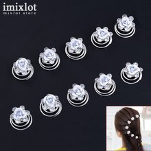 12Pcs Crystal Wedding Bridal Hair Pins Twists Coils White Rose Flower Swirl Spiral Hairpins Fashion Jewelry Accessories