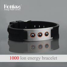 Hottime Multicolor Power 1000 ions Sports Titanium Steel Bracelet Wrist Band Improve Sleeping 4in1 Energy Bracelets Bangle 20010