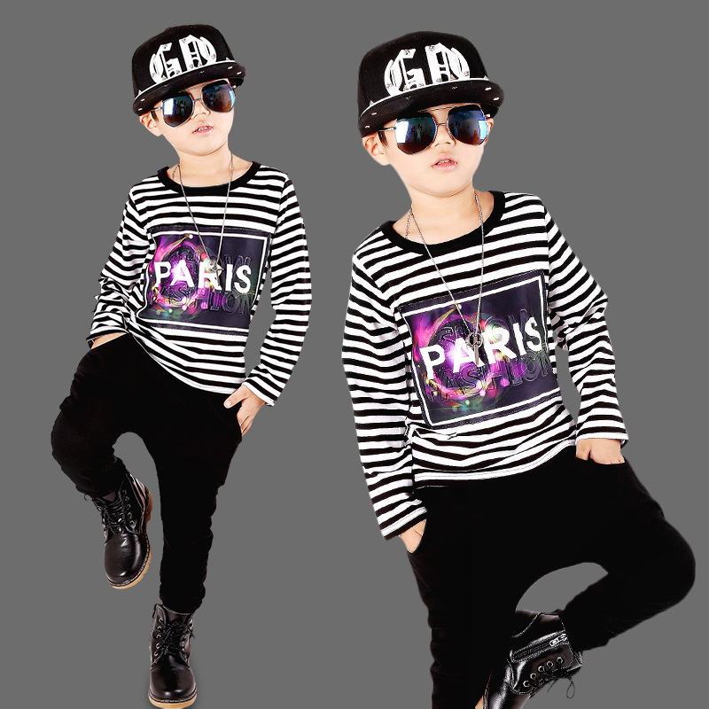 Childrens sports suits kids tracksuit boys clothing Spring hip-hop children stripe clothing suit for teenage boys 3 to 12 years<br><br>Aliexpress