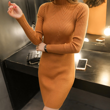 2016 Plus Size Long Dress Turtleneck Sleeve Head Thickened In The Long Section Of Korean New Slim Dress Bag Hip Knitted Backing