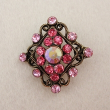 Promotion Small Multi-color Fashion 12 PCS/LOT Rhinestone Women Bronze Tone Cheap Brooch Pins, Item NO.: ART210