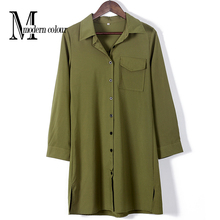 Casual Shirt Dress Spring 2017 European Fashion Style Army Green Collar Long Sleeve Dress Women Plus Size Dresses New Arrivals