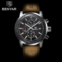 Buy BENYAR Brand Sport Watches Luxury Fashion Male Leather Waterproof Chronograph Quartz Military Watch Clock Men Relogio Masculino for $22.99 in AliExpress store
