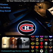 2pcs Car Door Welcome Montreal Canadiens Logo Wireless Senor Laser Projector Ghost Shadow Puddle Spotlight LED Light (NHL5)