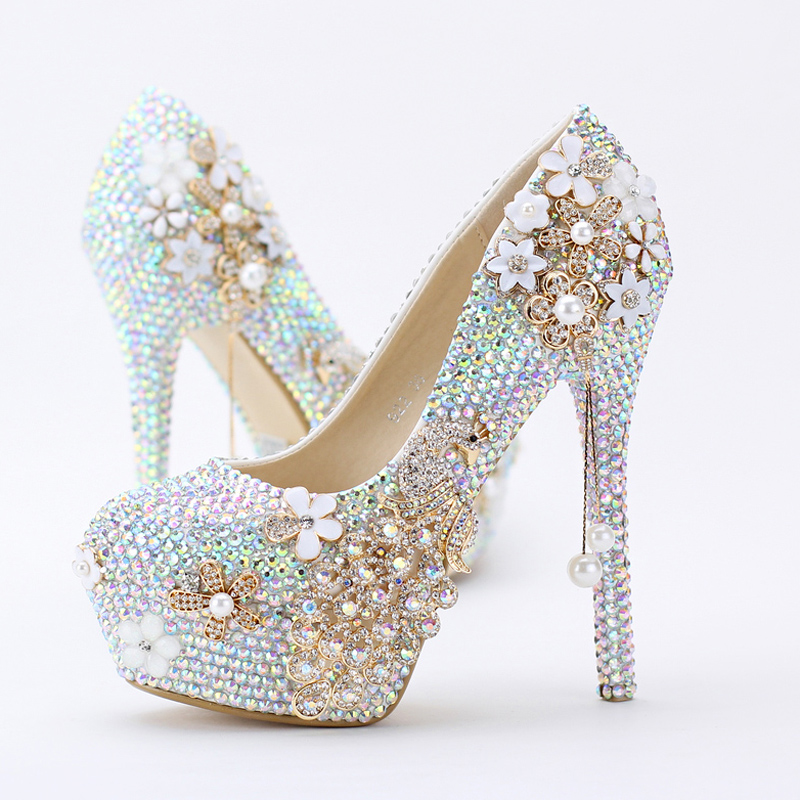 2016 New Lovely Sparkling Women Pumps Religious Ceremony High Heels Prom Party Shoes AB Color Rhinestone Wedding Shoes<br><br>Aliexpress