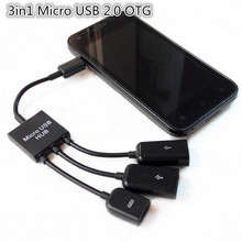 3in1 Micro USB 2.0 OTG Hub Host Extension Adapter Cablefor Samsung Galaxy Note Xiaomi note2 5  For Android Phone&Tablet