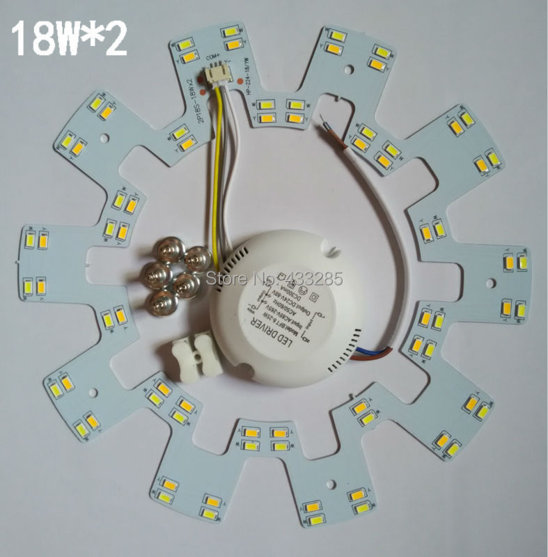 LED dome light panel light SMD5630/SMD5730 18W*2 cw/ww/cw+ww  lamp plate three sections power supply sitting room bedroom lamp<br>