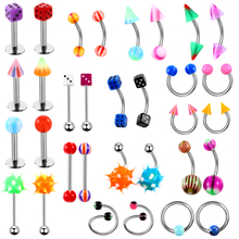 160pcs/set Body Piercing Assorted Mix Lot Kit 14G 16G Ball Spike Curved Sexy-Belly Rings Ear Tongue Pircing Barbell Bars ombligo