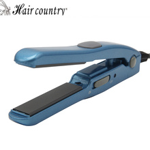 Hair Country Mini Blue Hair Straightener Travel Flat Irons Ceramic Hair straightening Irons Styling Tool(China)
