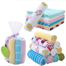 8pcs/lot Single Small Square Soft Cute Baby Towel Handkerchief for Infant Kid Children Feeding Bathing Face Washing(China)