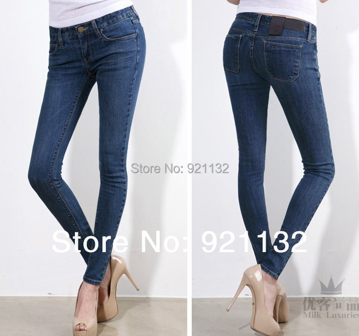 1198 Free Shipping High Quality Womens Fashion 2014 New Casual Solid Color Elastic Slim Skinny Pencil Jeans Black/Blue/GreyОдежда и ак�е��уары<br><br><br>Aliexpress