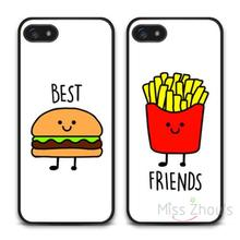 For iphone 4/4s 5/5s 5c SE 6/6s 7 plus ipod touch 4/5/6 back skins mobile cellphone cases cover Burger And Fries Best Friends
