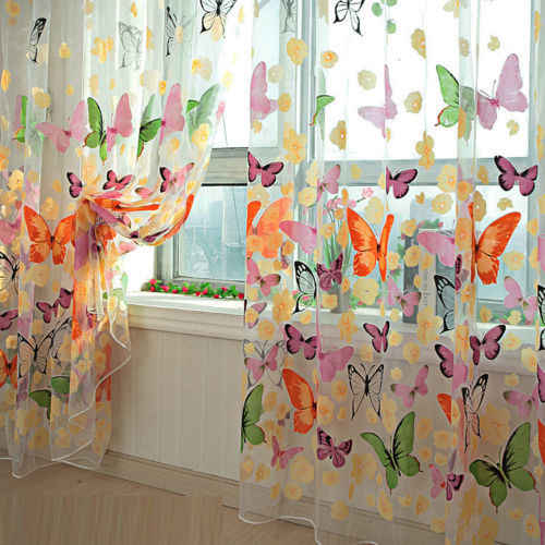 High Quality Hot Sales 200cm*100cm Butterfly Print Sheer Window Panel Curtains Room Divider New for living room bedroom girl