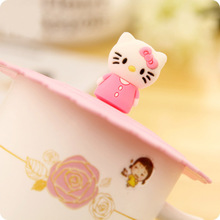 1pcs Hello Kitty Random Delivery Cute Cartoon Anti-dust Silicone Glass Cup Cover Mug Suction Seal Lid Cap 5D