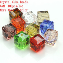 New Arrival 6MM(100PCS/LOT)  Crystal Fancy Curtains Square Cube Beads Multi-colored For Jewelry Making Accessories Craft