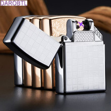 Pulse charge Windproof lighters usb electronic arc pulse charging cigarette lighter rechargeable personality double plated gift