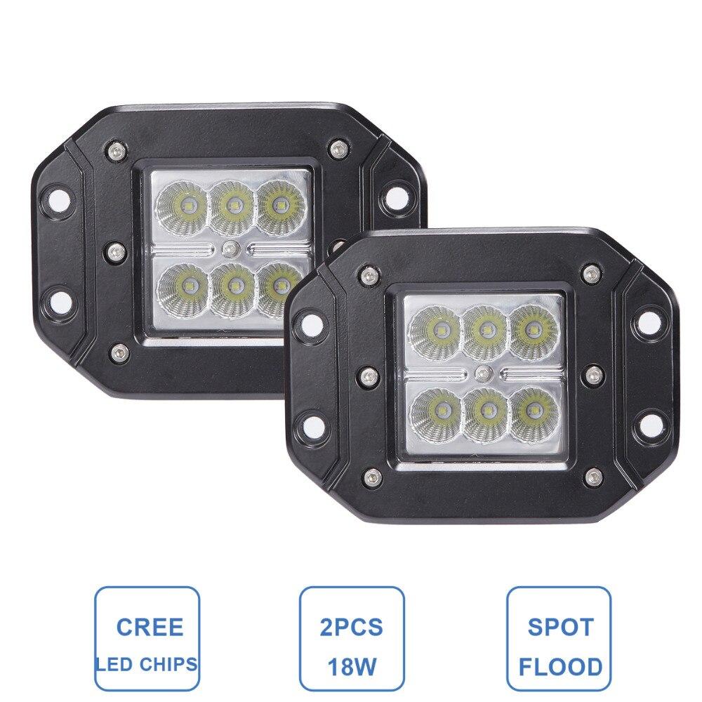 18W FLUSH MOUNT LED WORK LIGHT 12V 24V Rear Fog Lamp 4X4 Offroad Trailer Truck ATV Car Pickup Tractor SUV Bumper Work Light Bar<br><br>Aliexpress