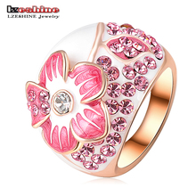 LZESHINE Pink Enamel Flower Rings Fashion Rose Gold Color Ring Micro Pave Genuine SWA Elements Austrian Crystal Ri-HQ0015-b