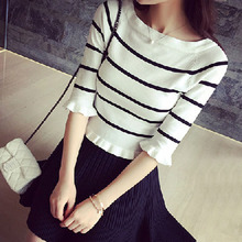 Fashion Women Sweaters Ladies Striped Pullovers Slim Thin Sweaters Sweet Edible Fungus Half Sleeve O-neck Ladies Tops