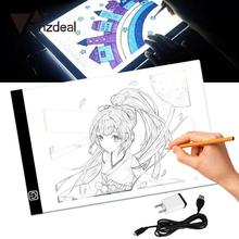 AMZDEAL New A4 LED Light Stencil Art Painting Drawing Pad Board Table Tattoo Pad Adapter USB Cable Dimmable EU/UK/AU/US Plug