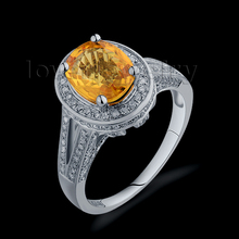 2.79CTW Vintage Solid 14Kt White Gold Ring Diamond Yellow Sapphire Ring Oval 7x9mm For Women R00320(China)