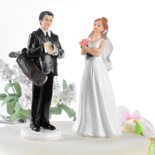 Golf Fanatic Groom Angry Bride Wedding Cake Topper Resin Craft Party Cake Decoration(China)