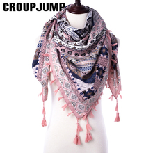 Fashion Women Scarf For Women Ethnic Scarves Female Geometric Tassel Scarf Women Printed Wraps Winter Shawls 110*110 CM Scarf(China)
