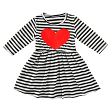 New Autumn Girls Black&White Stripe Red Heart Print Dress Casual Cute Long Sleeve Girls Dress Kid Princess Dress Child Costume