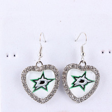 Drop Shipping Earrings NHL Team Dallas Stars Heart Cabochon Earrings Ice Hockey Charms With Crystals Earrings for Women Fans(China)