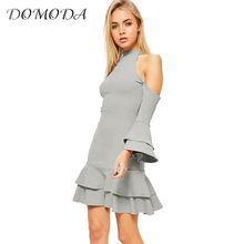 DOMODA Apparel Gray Cold Shoulder Mini Dress Women Clothing Ruffle Hem Casual Sweet Female Vestido Frill Elegant Spring Dress