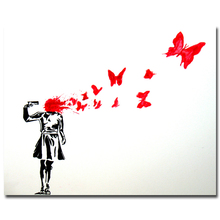 Girl and Butterfly Banksy Graffiti Street Art Silk Fabric Poster 12x18 24x36 inch Artwork Print Pictures For Room Wall Decor 050
