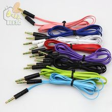 10 Multi-color Noodle AUX Stereo Audio Cable 3.5mm Male to Male for iPhone Samsung HTC wholesale cheap price 1000pcs
