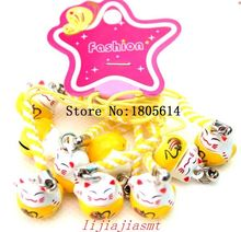 Hot sale Free Delivery 50 Pcs girl favourite cartoon popular Yellow Maneki Neko Lucky Cat Bell Phone Strap / Pet Collar Charm