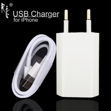 Wall AC USB Charger EU Plug White Color For Apple iPhone 5 5S 5C 6 6S 7 For iPhone 8 Pin USB Charging Cable + Charger Adapter(China)