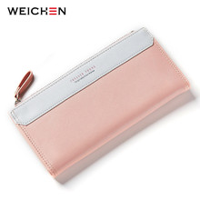 WEICHEN Lady Women Long Wallets Female Clutch Wallet Phone Coin Pocket Ladies Purse Women's Purses PU Leather Zipper&Hasp Bag(China)