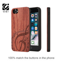 U&I NEW ARRIVAL Rose Wood Case for iphone 6 6s 6plus 6s plus 7 7plus Soft Real Wood Phone Case Hybrid TPU Rubber Edge