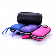 High Quality 1 Pc Eyewear Cases Sunglasses Protector Box Protable Rectangle Sunglasses With Lanyard Zipper Hard Eye Glass Case(China)
