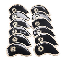 Free Shipping 12pcs/set Synthetic Leather Golf Smooth Surface Golden Iron Covers Sets Protector 3-9,Pw ,Sw Aw ,LW,LW(China)