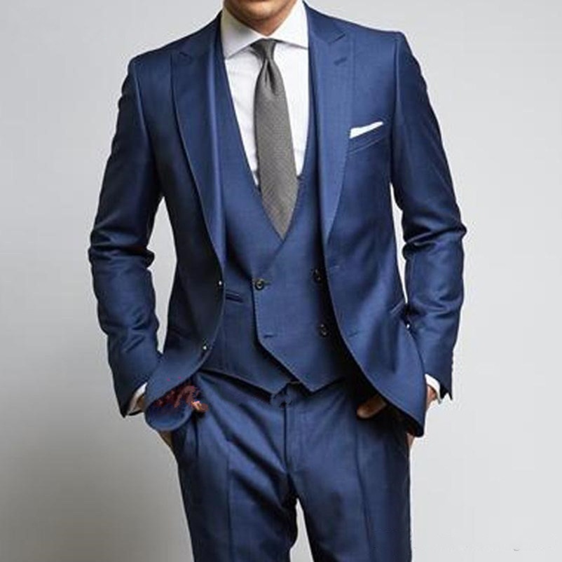 High Quality Wedding Suits Slim Fit Groom Tuxedo Royal Blue Mens Prom Suits For Wedding Groomsmen (jacket+pent+vest)