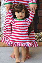 "18"" the American Girl Doll Christmas Nightgown Ruffle Dress Girls halloween Pajamas thanksgiving personalized initial doll Dress(China)"