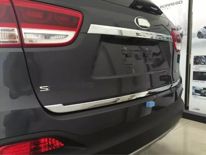 Chrome Rear Trunk garnish Lid tail hood Cover trim For 2015 2016 KIA Sorento high quality stickers trim car styling accessories<br>