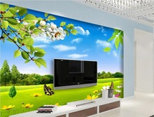 custom 3d photo wallpaper Blue sky white clouds grass flowers natural beauty TV background wall window mural wallpaper(China)