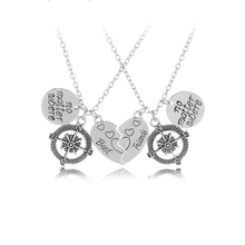 2 Pcs Best Friends No Matter Where Compass Necklaces Set Heart Best Friend Gifts for Teen Girls BFF Friendship Necklaces