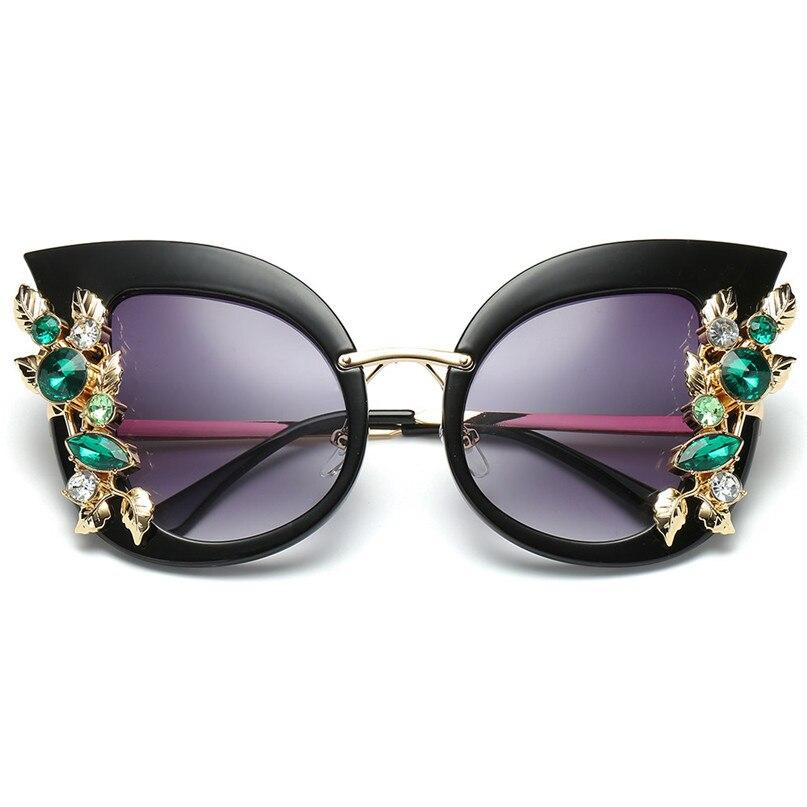 Sport Sunglasses Cycling Eyewear Womens Fashion Artificial Diamond Cat Ear Metal Frame Brand Classic Sunglasses #2J06#F (9)