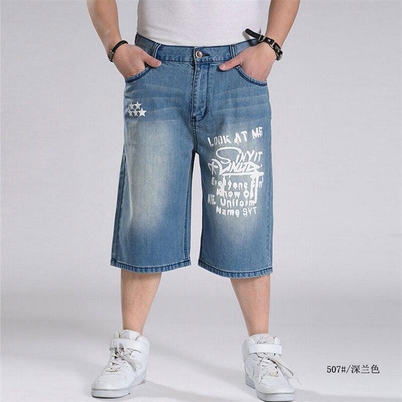 Short Denim Men Hip Hop Baggy Jeans Mens Loose Pants Blue Hip-Hop Large Size Jeans Short Waist 30-46Одежда и ак�е��уары<br><br><br>Aliexpress